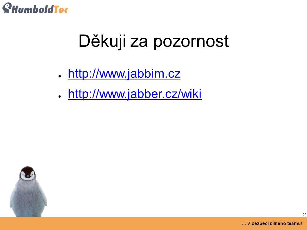 23 … v bezpečí silného teamu! Děkuji za pozornost ● http://www.jabbim.cz http://www.jabbim.cz ● http://www.jabber.cz/wiki http://www.jabber.cz/wiki