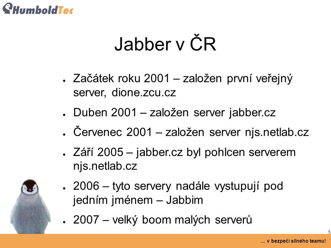 5 … v bezpečí silného teamu! Jabber v ČR ● Začátek roku 2001 – založen první veřejný server, dione.zcu.cz ● Duben 2001 – založen server jabber.cz ● Če