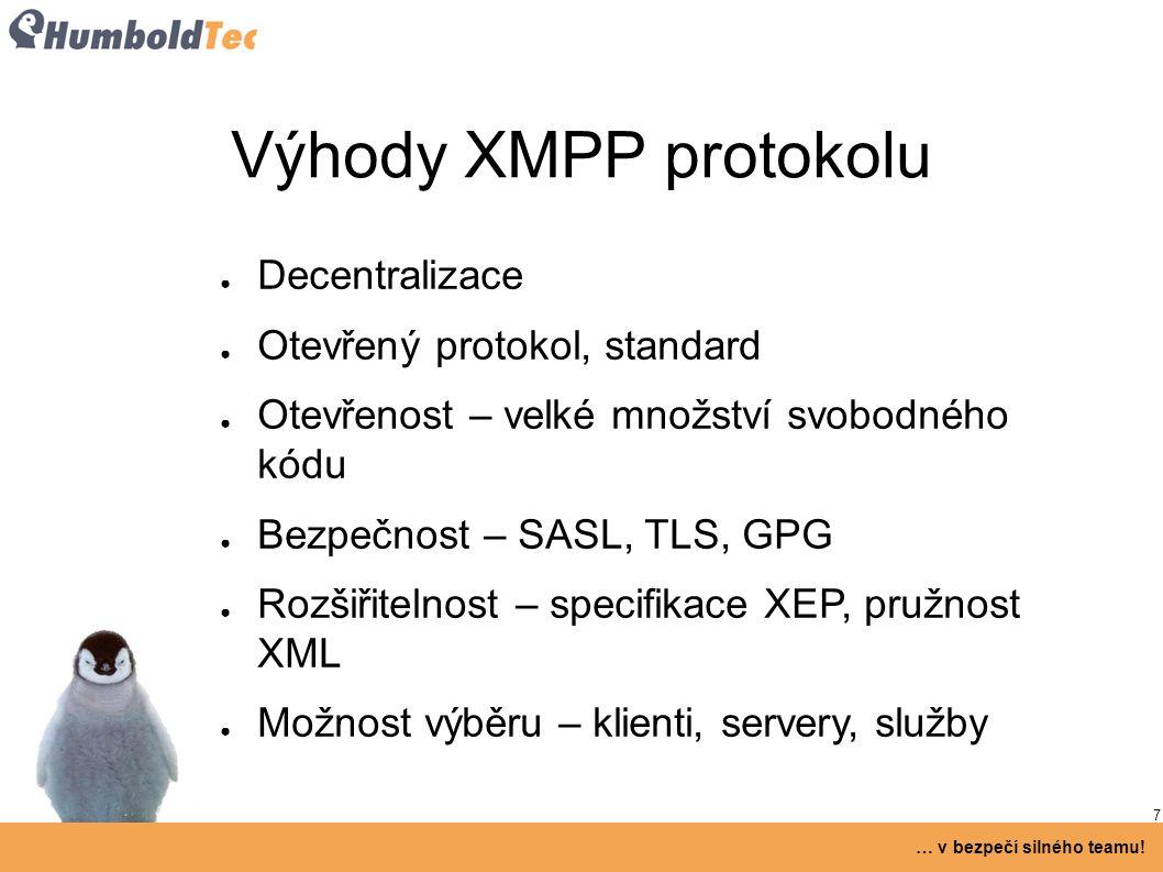 7 … v bezpečí silného teamu! Výhody XMPP protokolu ● Decentralizace ● Otevřený protokol, standard ● Otevřenost – velké množství svobodného kódu ● Bezp