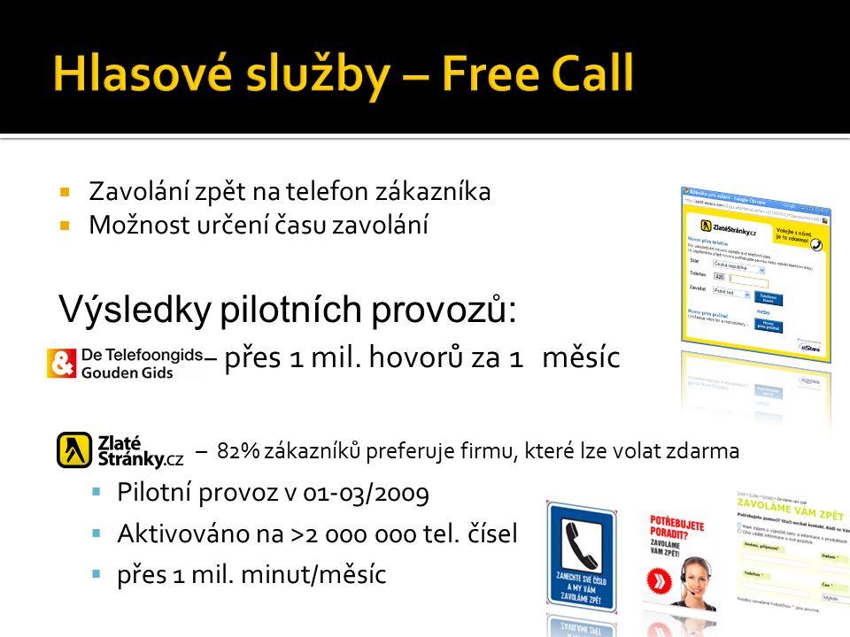  Zavolání zpět na telefon zákazníka  Možnost určení času zavolání Výsledky pilotních provozů:  – přes 1 mil.