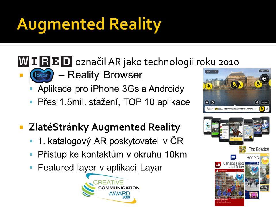  Wired označil AR jako technologii roku 2010  Layar – Reality Browser  Aplikace pro iPhone 3Gs a Androidy  Přes 1.5mil.