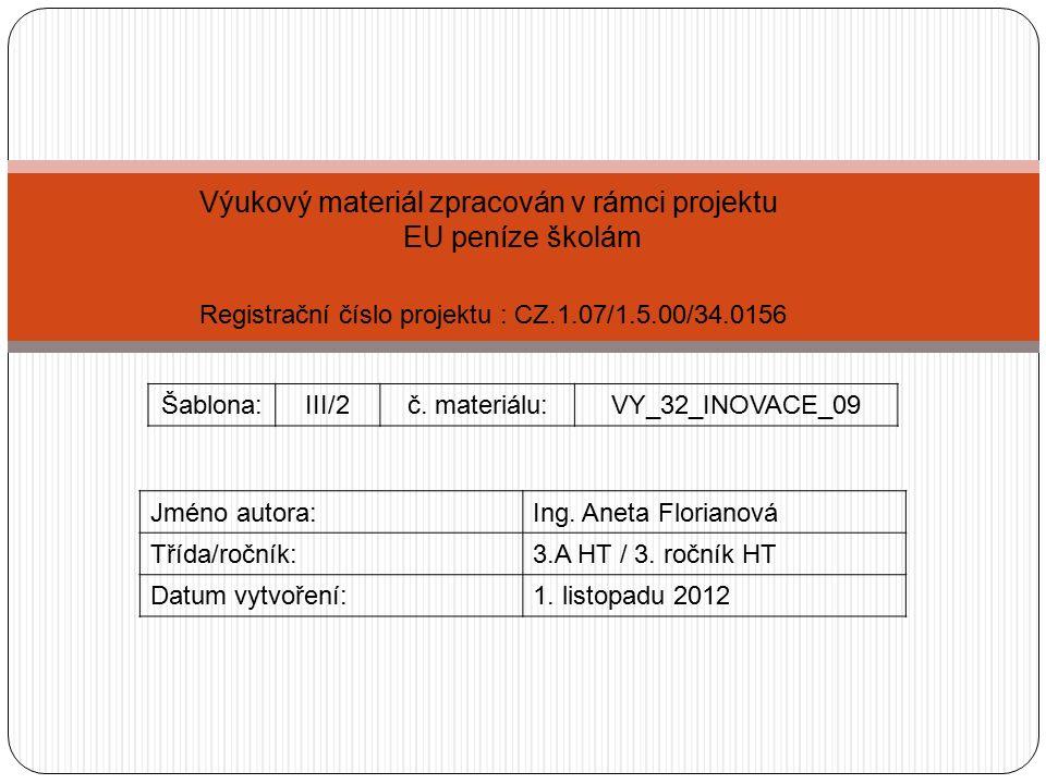Vzdělávací oblast: Cestovní ruch Tematická oblast: Lázeňský CR 1.
