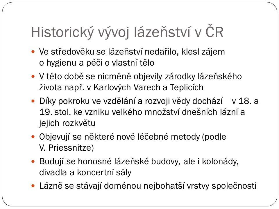 Historický vývoj lázeňství v ČR Ve středověku se lázeňství nedařilo, klesl zájem o hygienu a péči o vlastní tělo V této době se nicméně objevily zárod
