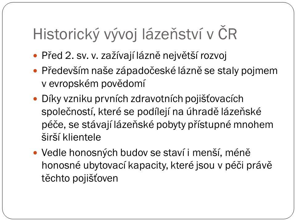 Historický vývoj lázeňství v ČR Před 2. sv. v. zažívají lázně největší rozvoj Především naše západočeské lázně se staly pojmem v evropském povědomí Dí