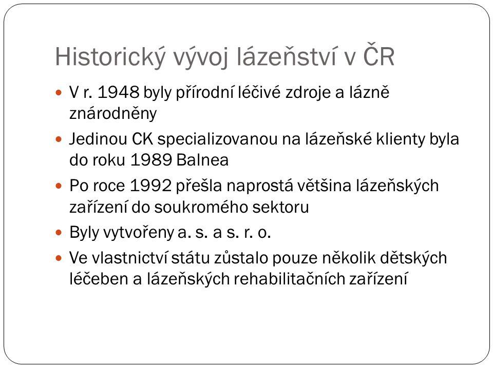 Historický vývoj lázeňství v ČR V r. 1948 byly přírodní léčivé zdroje a lázně znárodněny Jedinou CK specializovanou na lázeňské klienty byla do roku 1