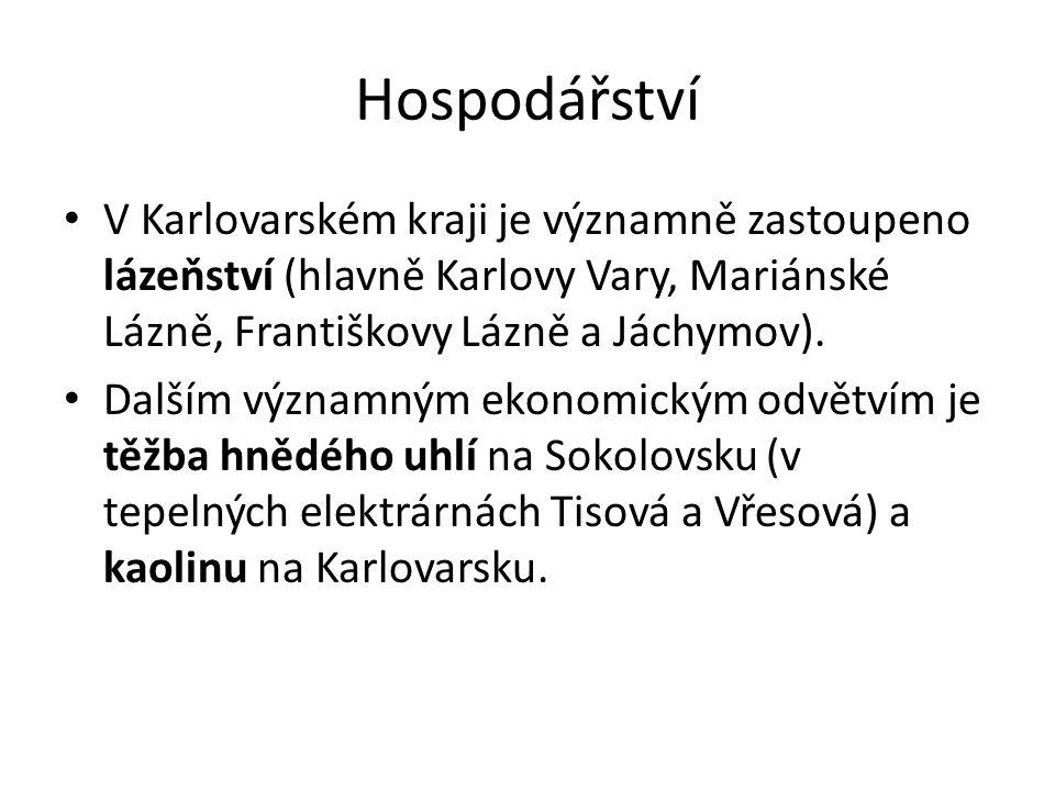 Hospodářství V Karlovarském kraji je významně zastoupeno lázeňství (hlavně Karlovy Vary, Mariánské Lázně, Františkovy Lázně a Jáchymov). Dalším význam