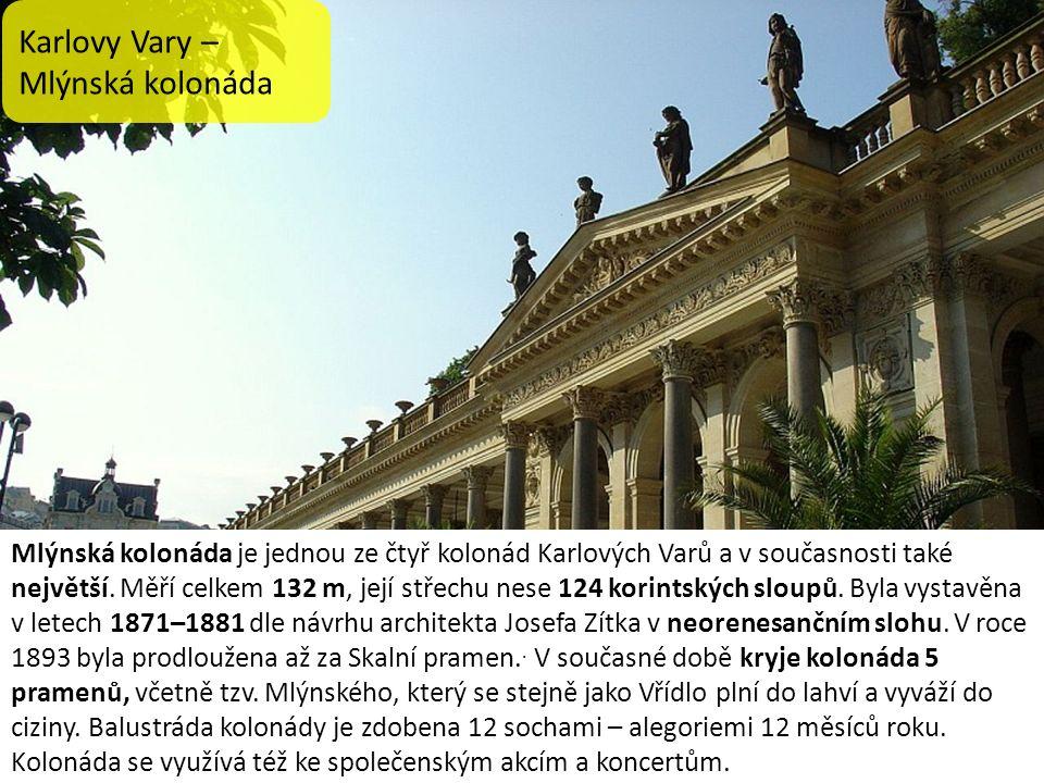 Karlovy Vary – Mlýnská kolonáda Mlýnská kolonáda je jednou ze čtyř kolonád Karlových Varů a v současnosti také největší. Měří celkem 132 m, její střec