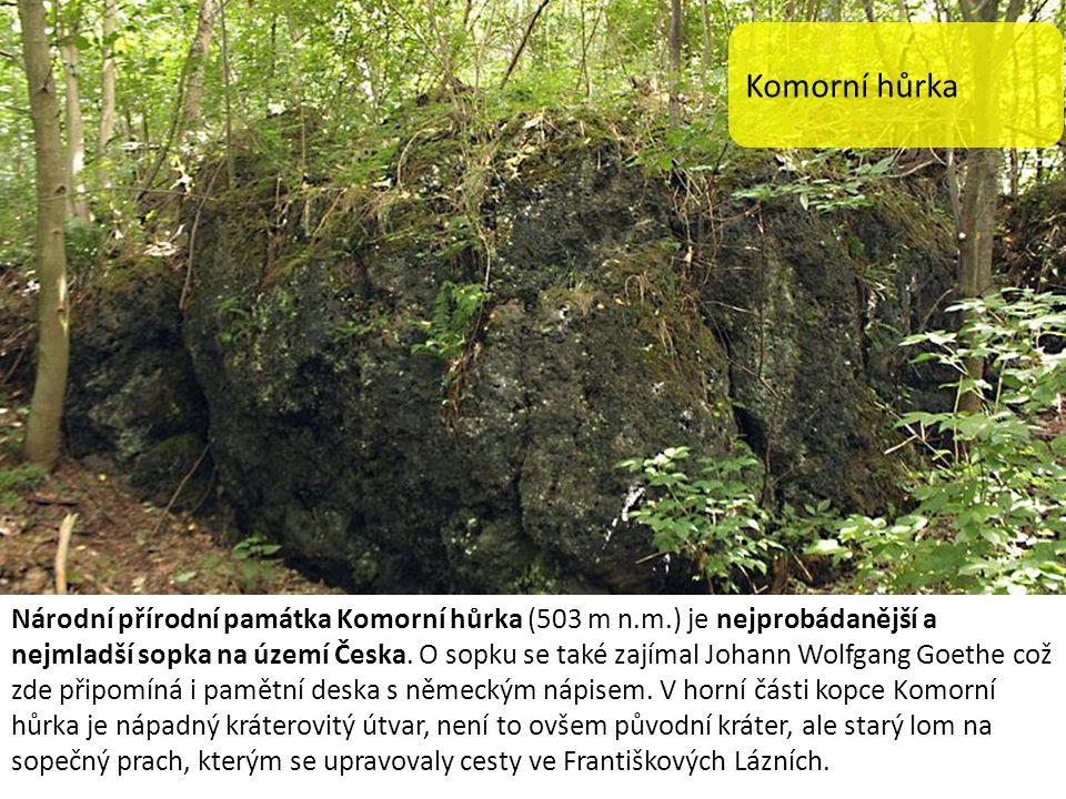 Komorní hůrka Národní přírodní památka Komorní hůrka (503 m n.m.) je nejprobádanější a nejmladší sopka na území Česka. O sopku se také zajímal Johann