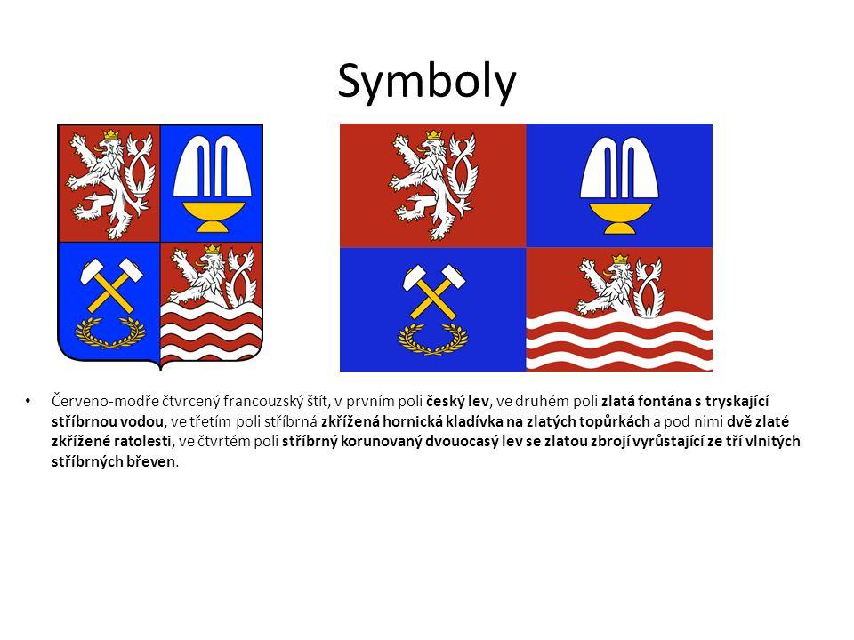 Symboly Červeno-modře čtvrcený francouzský štít, v prvním poli český lev, ve druhém poli zlatá fontána s tryskající stříbrnou vodou, ve třetím poli st