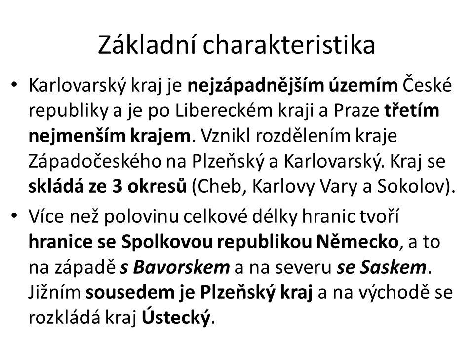 Administrativní dělení Kraj tvoří 3 okresy – chebský, karlovarský a sokolovský a celkem se zde nachází 132 obcí, které jsou dále členěny do 518 částí.