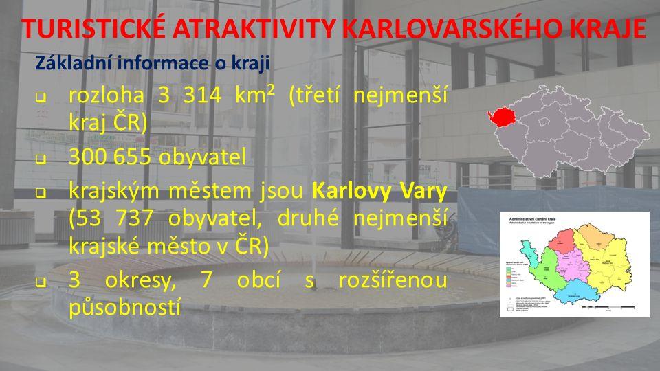 TURISTICKÉ ATRAKTIVITY KARLOVARSKÉHO KRAJE Základní informace o kraji  rozloha 3 314 km 2 (třetí nejmenší kraj ČR)  300 655 obyvatel  krajským městem jsou Karlovy Vary (53 737 obyvatel, druhé nejmenší krajské město v ČR)  3 okresy, 7 obcí s rozšířenou působností
