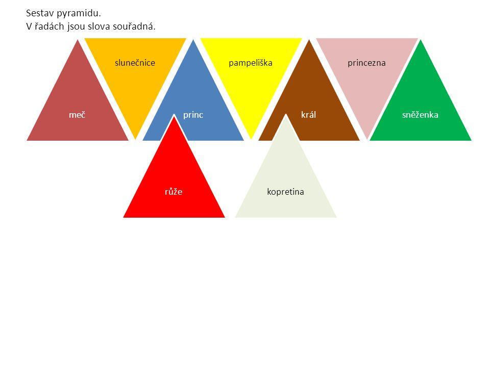Sestav pyramidu. V řadách jsou slova souřadná.