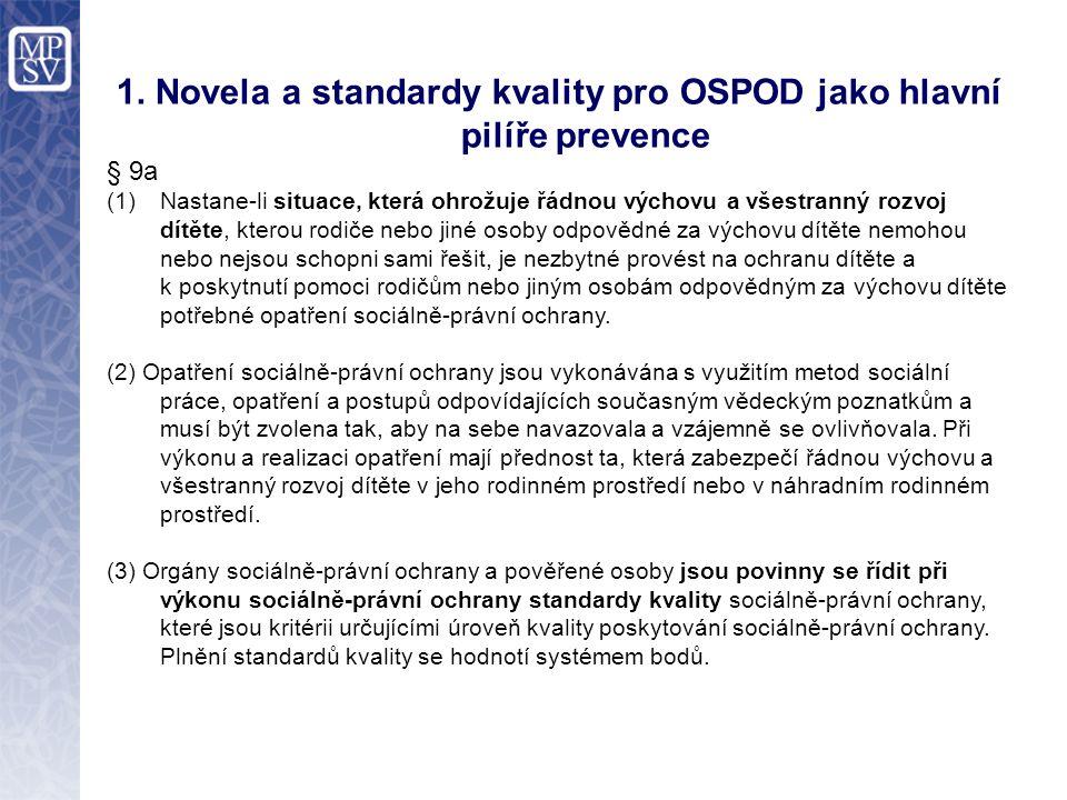 1. Novela a standardy kvality pro OSPOD jako hlavní pilíře prevence § 9a (1)Nastane-li situace, která ohrožuje řádnou výchovu a všestranný rozvoj dítě