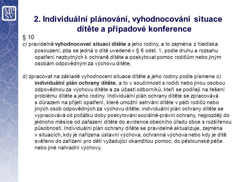 2. Individuální plánování, vyhodnocování situace dítěte a případové konference § 10 c) pravidelně vyhodnocovat situaci dítěte a jeho rodiny, a to zejm