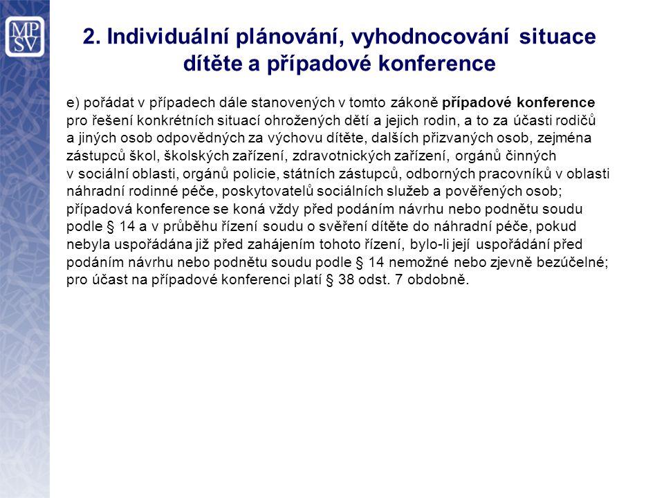 2. Individuální plánování, vyhodnocování situace dítěte a případové konference e) pořádat v případech dále stanovených v tomto zákoně případové konfer