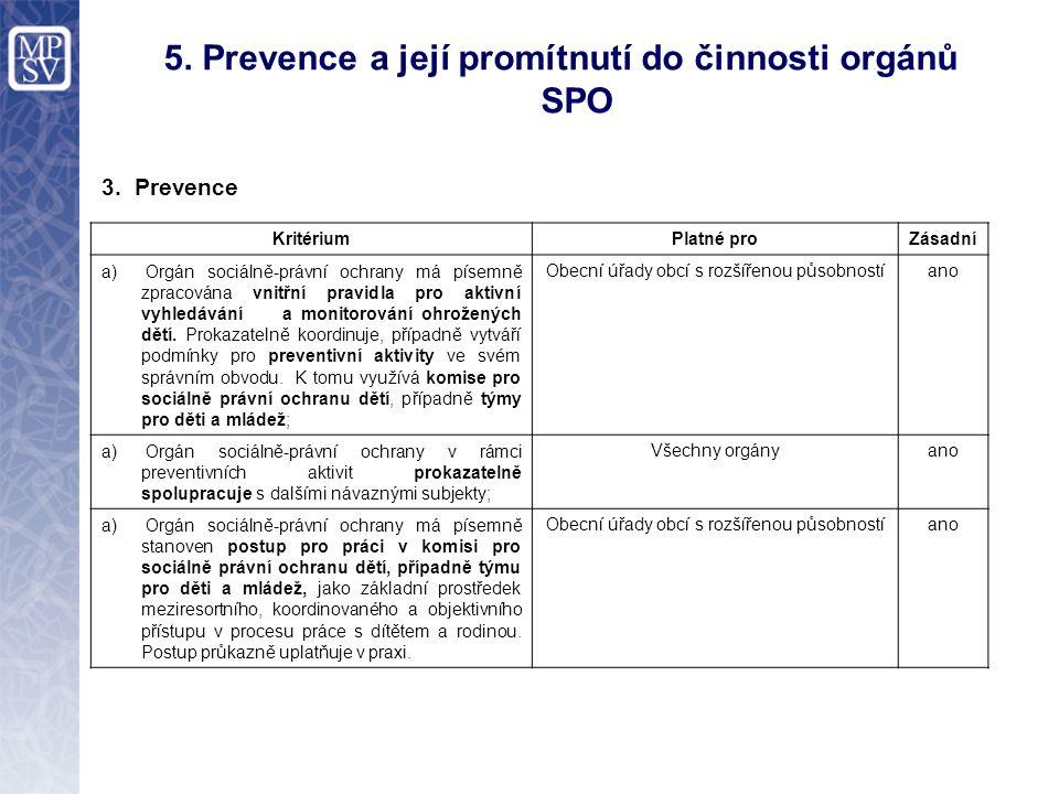 5. Prevence a její promítnutí do činnosti orgánů SPO 3.