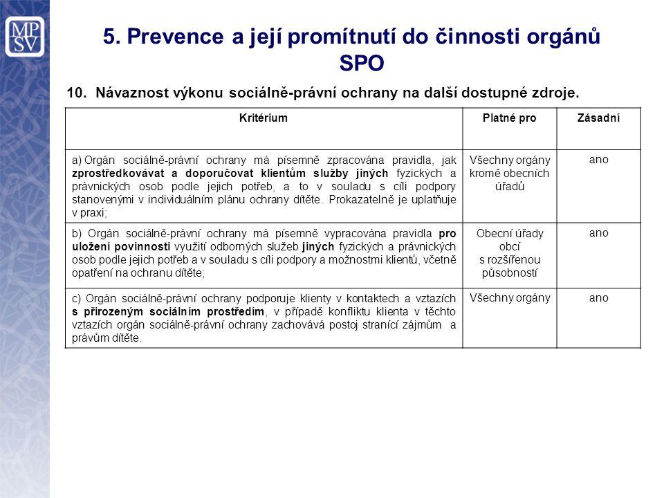 5. Prevence a její promítnutí do činnosti orgánů SPO 10.