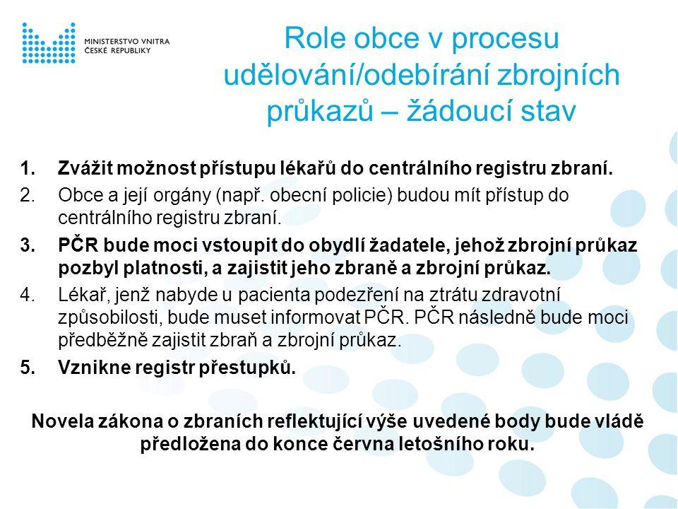 Role obce v procesu udělování/odebírání zbrojních průkazů – žádoucí stav 1.Zvážit možnost přístupu lékařů do centrálního registru zbraní.