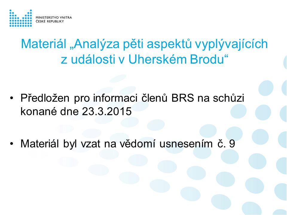 """Materiál """"Analýza pěti aspektů vyplývajících z události v Uherském Brodu Předložen pro informaci členů BRS na schůzi konané dne 23.3.2015 Materiál byl vzat na vědomí usnesením č."""