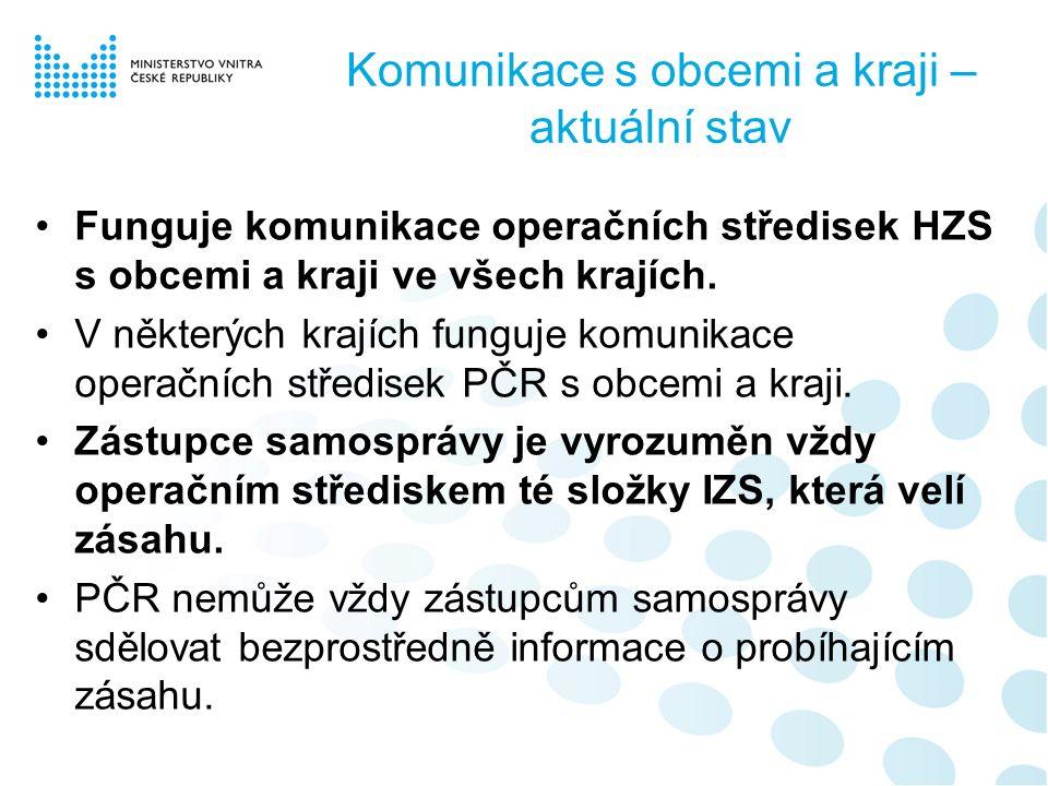 Komunikace s obcemi a kraji – aktuální stav Funguje komunikace operačních středisek HZS s obcemi a kraji ve všech krajích.