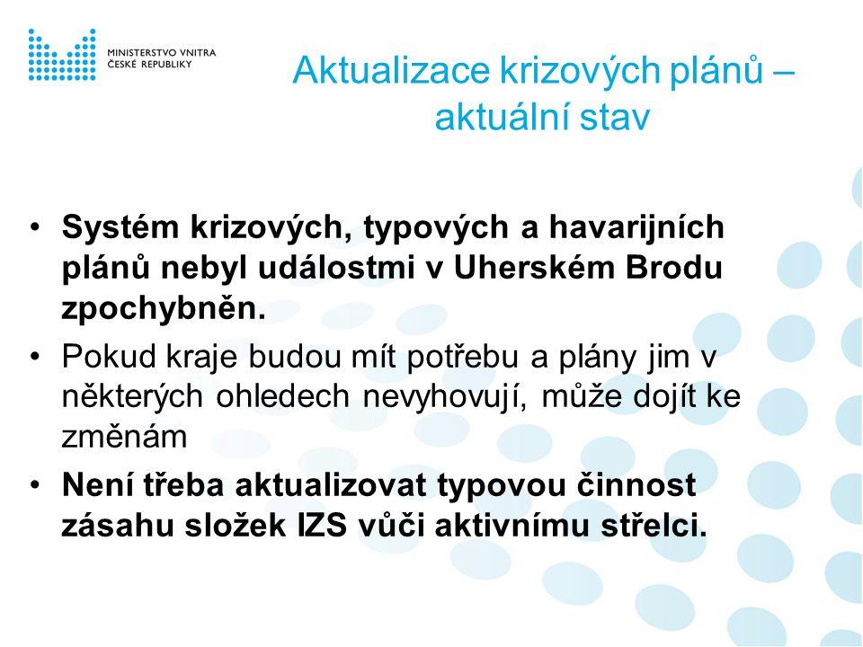 Aktualizace krizových plánů – aktuální stav Systém krizových, typových a havarijních plánů nebyl událostmi v Uherském Brodu zpochybněn.