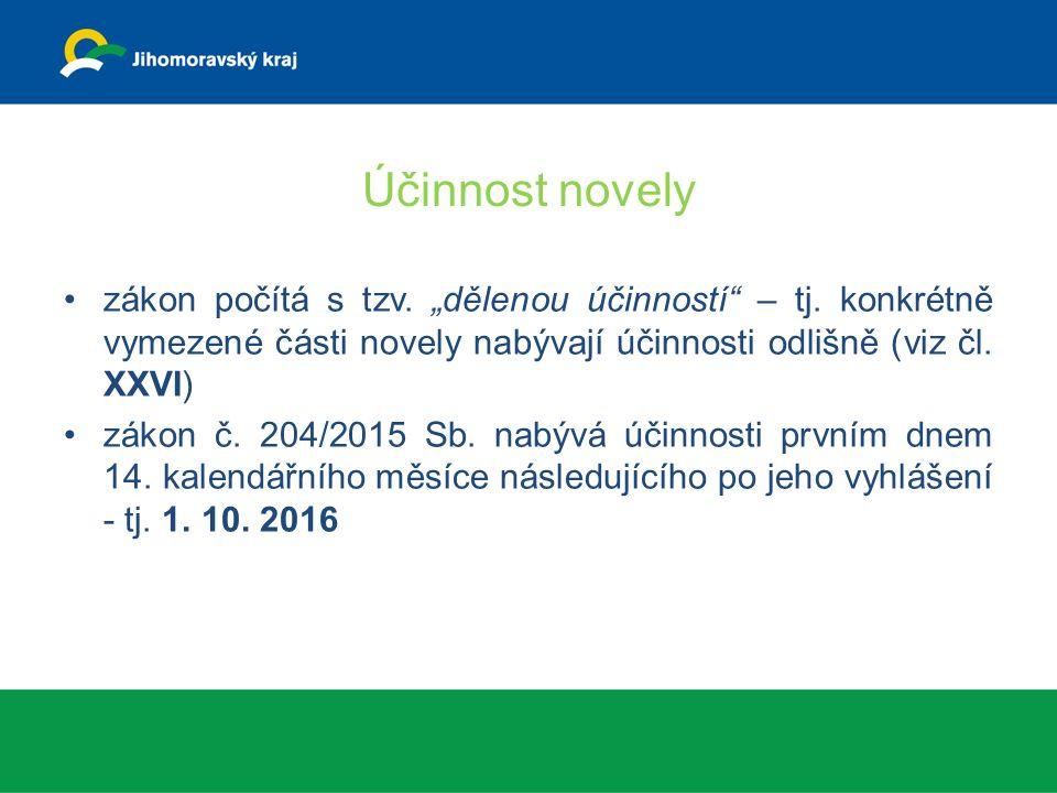 Účinnost od 1.10. 2015 ustanovení čl. I bodů 3 až 8, 11 až 16, 17, 18, 23 až 25 a 29, čl.