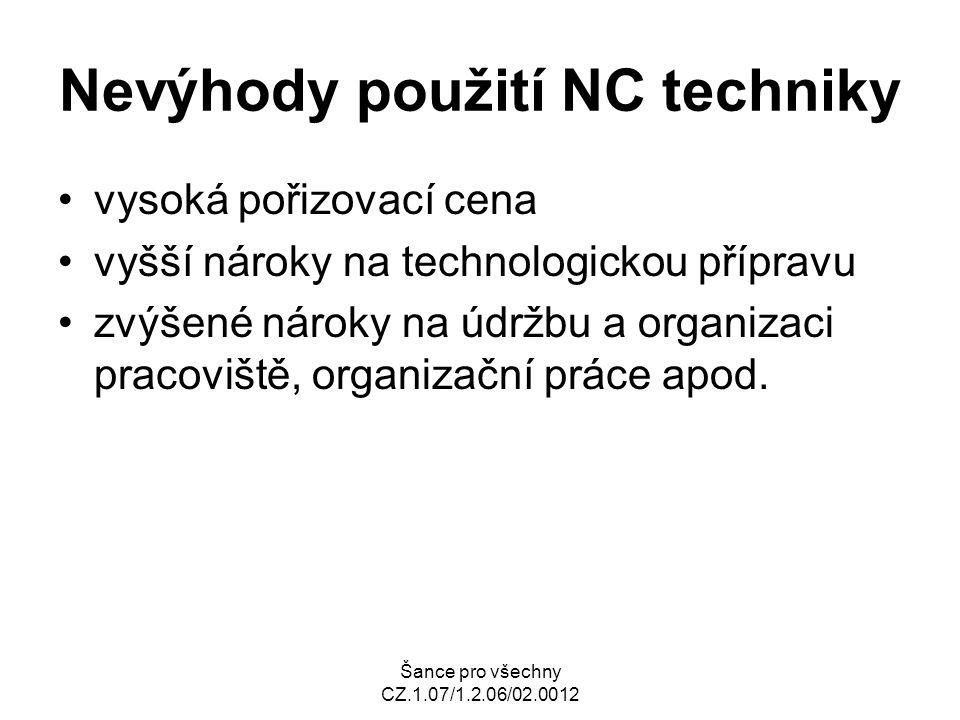 Šance pro všechny CZ.1.07/1.2.06/02.0012 Nevýhody použití NC techniky vysoká pořizovací cena vyšší nároky na technologickou přípravu zvýšené nároky na údržbu a organizaci pracoviště, organizační práce apod.
