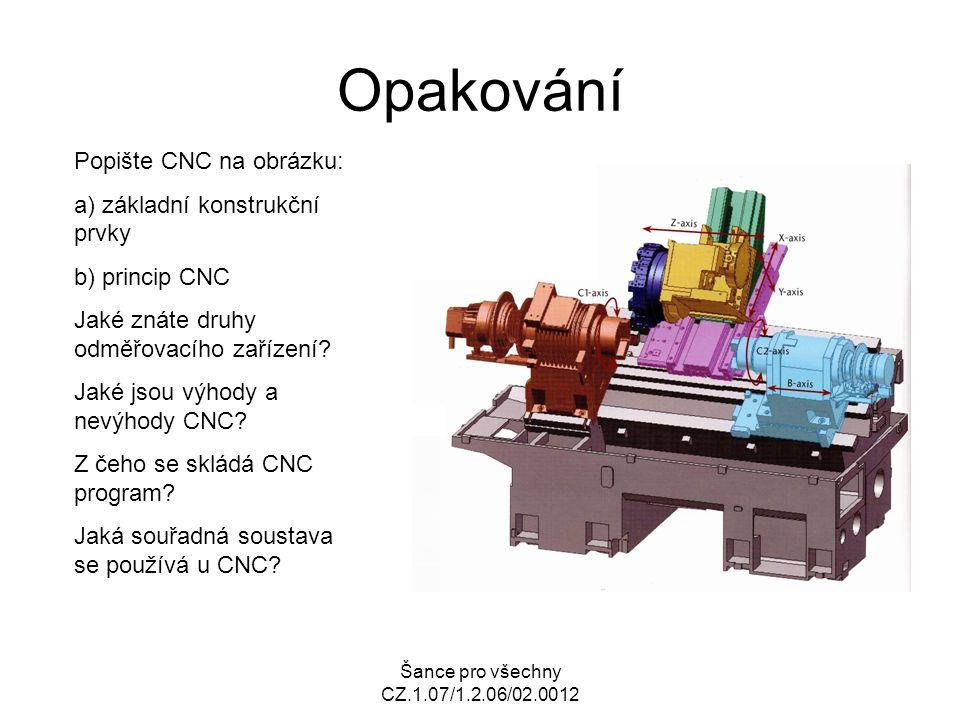 Šance pro všechny CZ.1.07/1.2.06/02.0012 Opakování Popište CNC na obrázku: a) základní konstrukční prvky b) princip CNC Jaké znáte druhy odměřovacího zařízení.