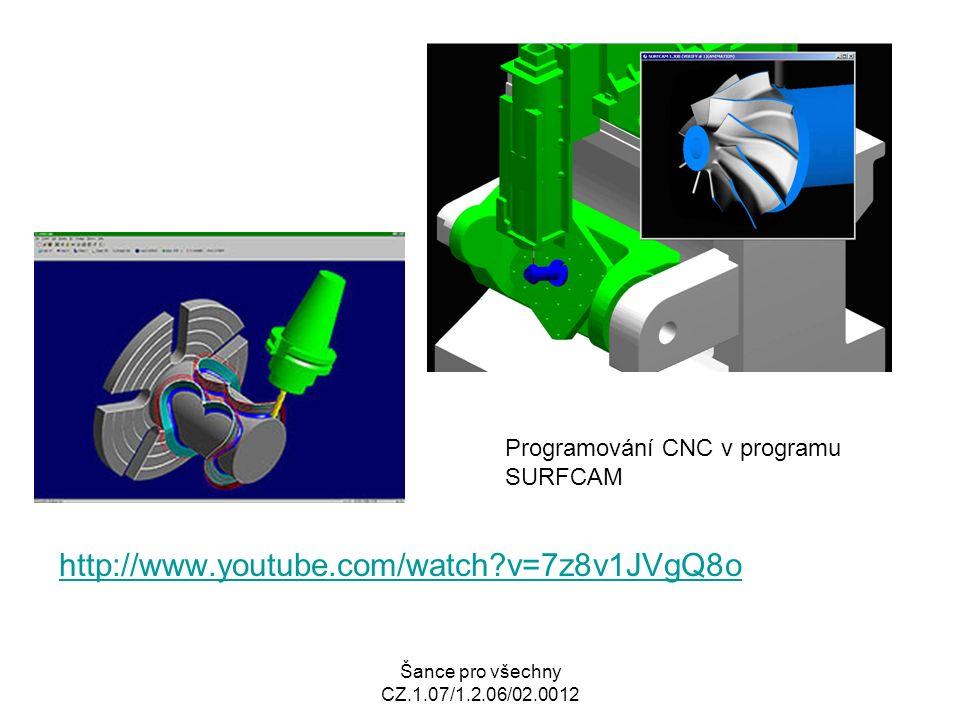 Šance pro všechny CZ.1.07/1.2.06/02.0012 http://www.youtube.com/watch v=7z8v1JVgQ8o Programování CNC v programu SURFCAM