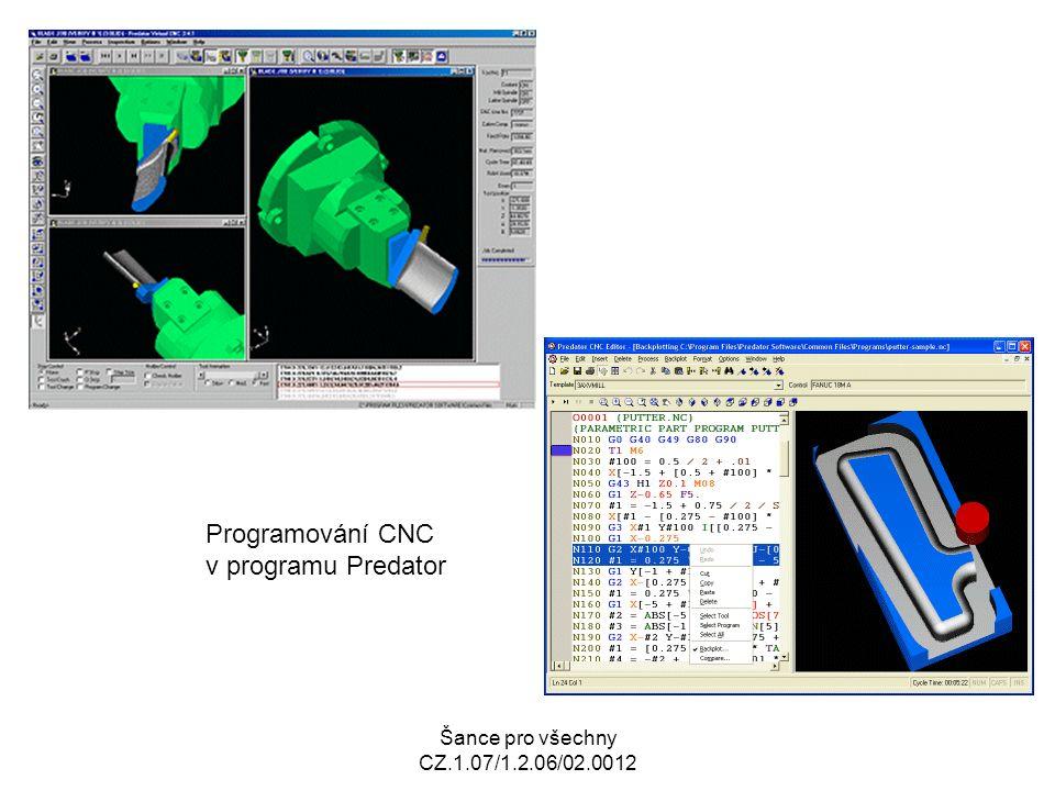 Šance pro všechny CZ.1.07/1.2.06/02.0012 Základní body CNC stroje Nulový bod stroje Referenční bod Základní bod nástroje Nulový bod obrobku Výchozí bod programu