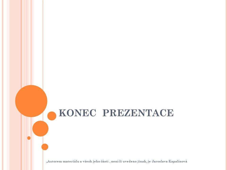 """KONEC PREZENTACE """"Autorem materiálu a všech jeho částí, není-li uvedeno jinak, je Jaroslava Kapalínová"""