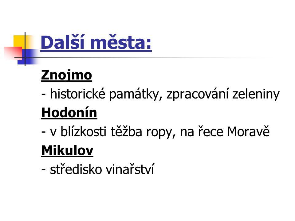 Další města: Znojmo - historické památky, zpracování zeleniny Hodonín - v blízkosti těžba ropy, na řece Moravě Mikulov - středisko vinařství