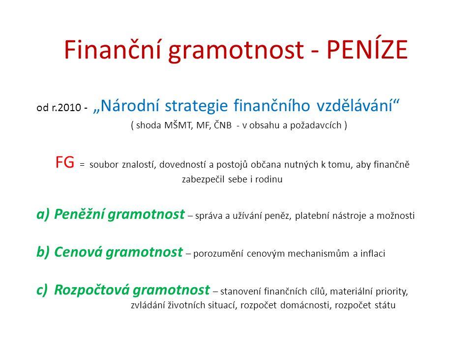 """Finanční gramotnost - PENÍZE od r.2010 - """"Národní strategie finančního vzdělávání"""" ( shoda MŠMT, MF, ČNB - v obsahu a požadavcích ) FG = soubor znalos"""