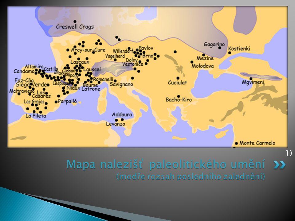 Mapa nalezišť paleolitického umění (modře rozsah posledního zalednění) 1)