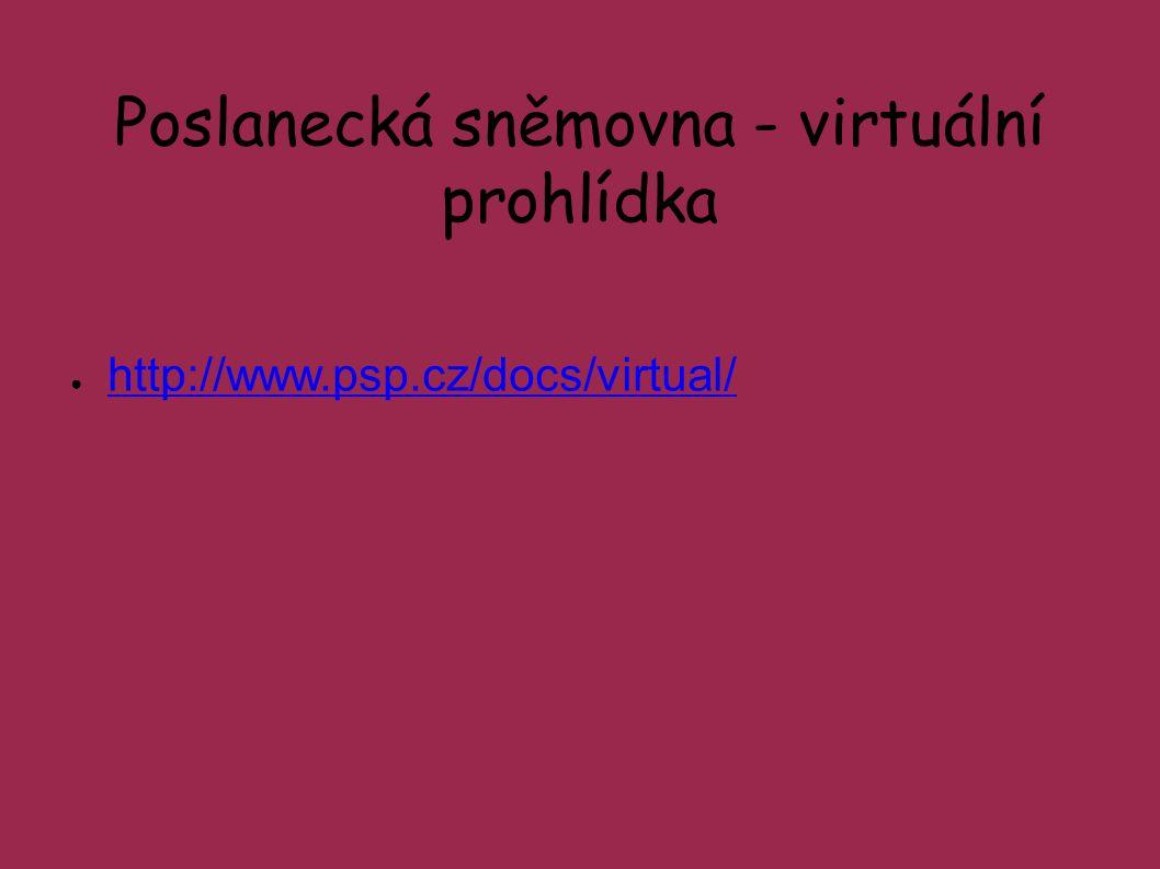 Poslanecká sněmovna - virtuální prohlídka ● http://www.psp.cz/docs/virtual/ http://www.psp.cz/docs/virtual/