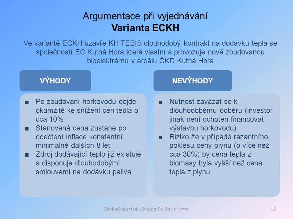 Závěrečná práce Lobbying: Bc. David Hrma12 Argumentace při vyjednávání Varianta ECKH Ve variantě ECKH uzavře KH TEBIS dlouhodobý kontrakt na dodávku t