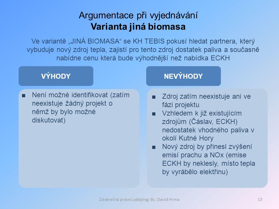 """Závěrečná práce Lobbying: Bc. David Hrma13 Argumentace při vyjednávání Varianta jiná biomasa Ve variantě """"JINÁ BIOMASA"""" se KH TEBIS pokusí hledat part"""