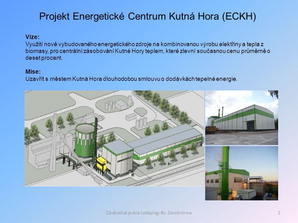 Závěrečná práce Lobbying: Bc. David Hrma2 Projekt Energetické Centrum Kutná Hora (ECKH) Vize: Využití nově vybudovaného energetického zdroje na kombin
