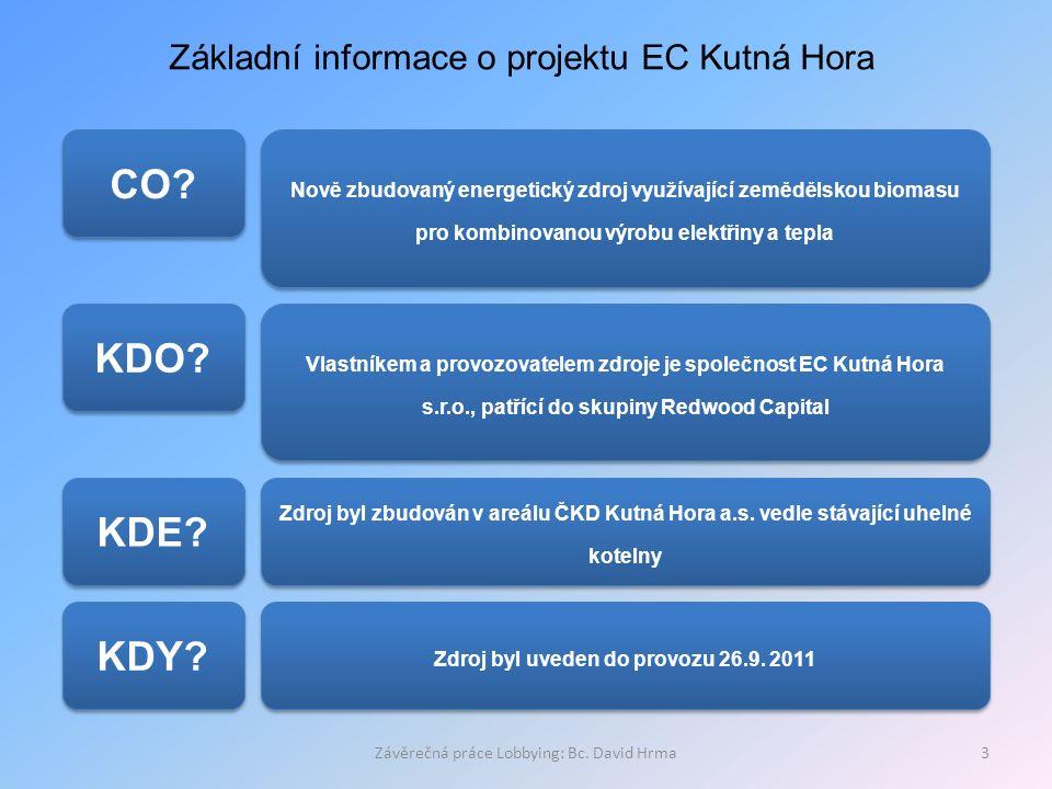 Závěrečná práce Lobbying: Bc. David Hrma3 Základní informace o projektu EC Kutná Hora CO? KDO? KDE? Nově zbudovaný energetický zdroj využívající zeměd