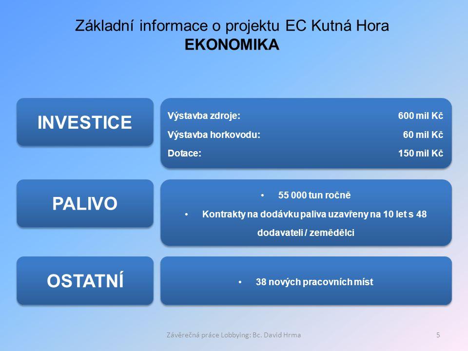 Závěrečná práce Lobbying: Bc. David Hrma5 Základní informace o projektu EC Kutná Hora EKONOMIKA INVESTICE PALIVO Výstavba zdroje: 600 mil Kč Výstavba