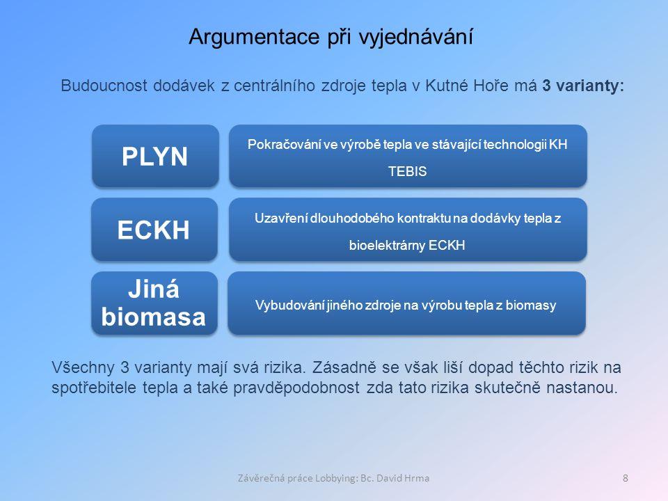 Závěrečná práce Lobbying: Bc. David Hrma8 Argumentace při vyjednávání Budoucnost dodávek z centrálního zdroje tepla v Kutné Hoře má 3 varianty: PLYN P
