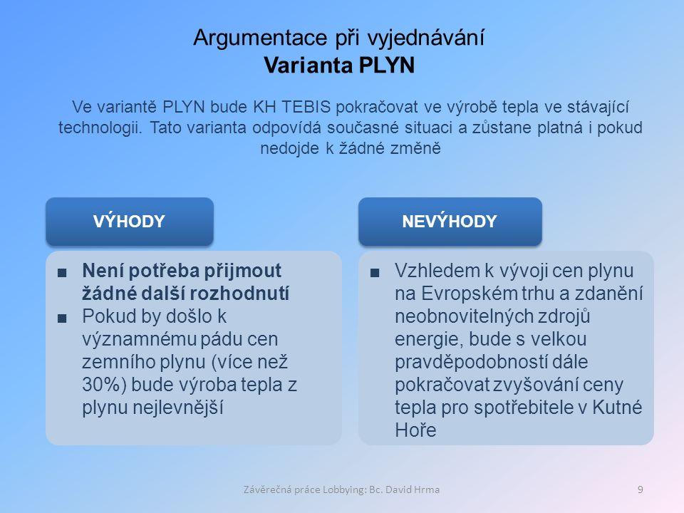 Závěrečná práce Lobbying: Bc. David Hrma9 Argumentace při vyjednávání Varianta PLYN Ve variantě PLYN bude KH TEBIS pokračovat ve výrobě tepla ve stáva