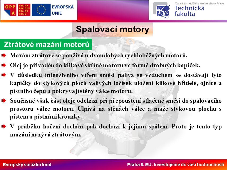 Evropský sociální fond Praha & EU: Investujeme do vaší budoucnosti Spalovací motory Ztrátové mazání motorů Mazání ztrátové se používá u dvoudobých ryc