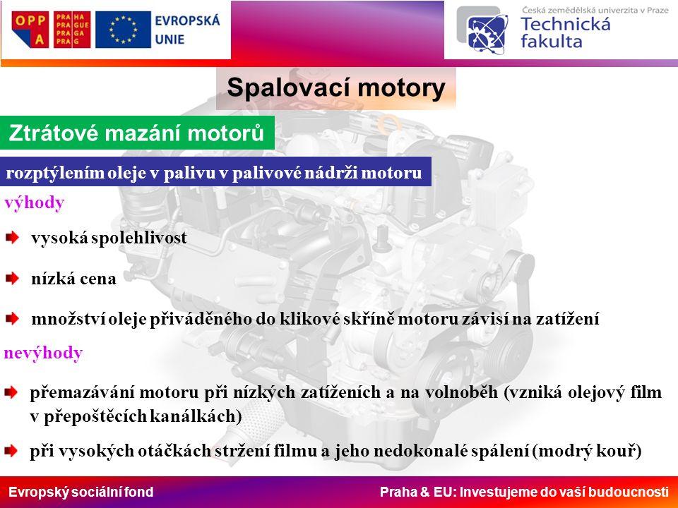 Evropský sociální fond Praha & EU: Investujeme do vaší budoucnosti Spalovací motory Ztrátové mazání motorů rozptýlením oleje v palivu v palivové nádrž