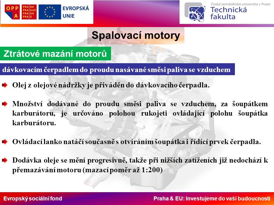 Evropský sociální fond Praha & EU: Investujeme do vaší budoucnosti Spalovací motory Ztrátové mazání motorů dávkovacím čerpadlem do proudu nasávané smě