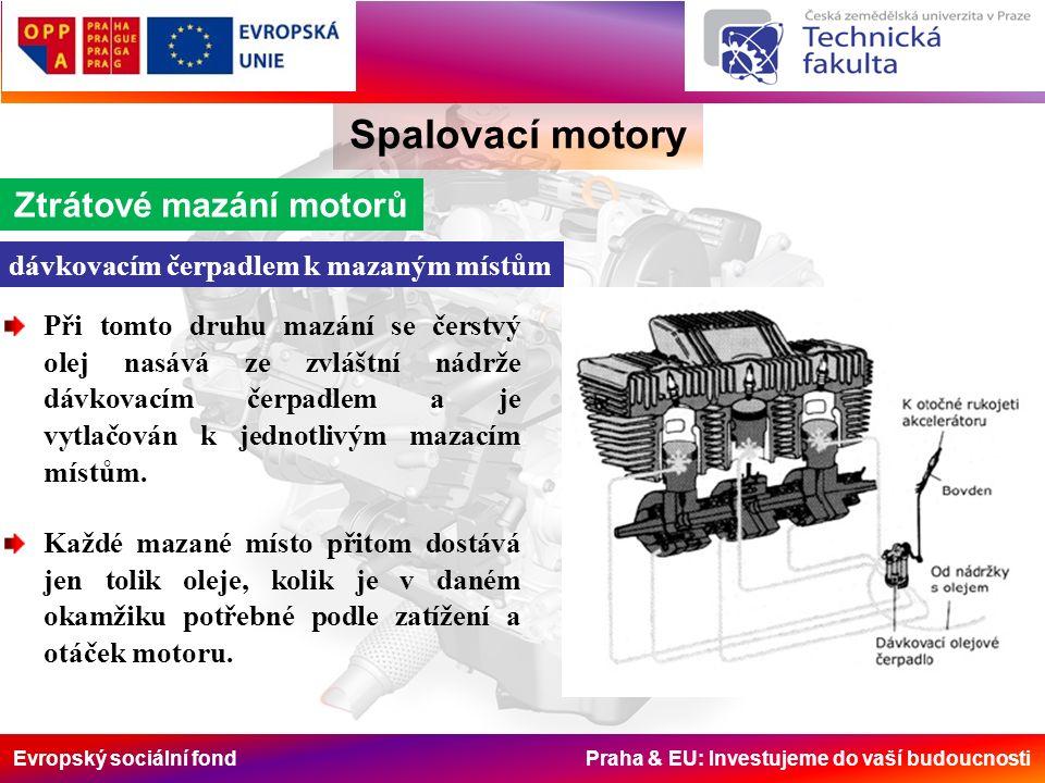 Evropský sociální fond Praha & EU: Investujeme do vaší budoucnosti Spalovací motory Ztrátové mazání motorů dávkovacím čerpadlem k mazaným místům Při t
