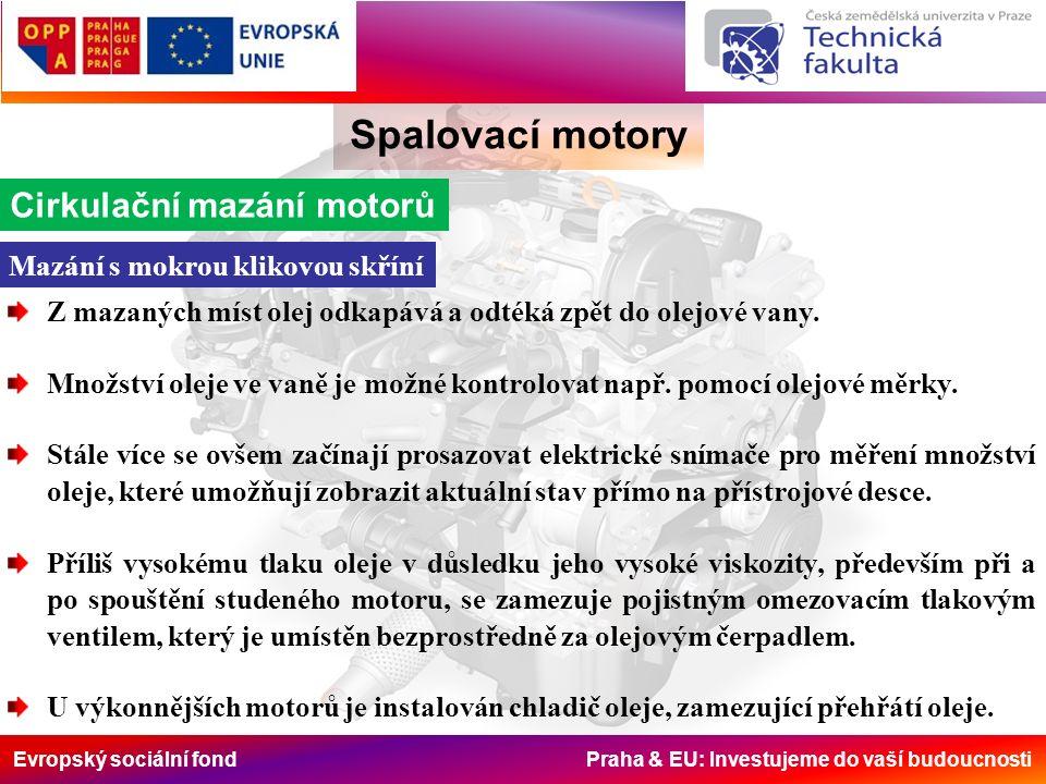 Evropský sociální fond Praha & EU: Investujeme do vaší budoucnosti Spalovací motory Cirkulační mazání motorů Mazání s mokrou klikovou skříní Z mazanýc