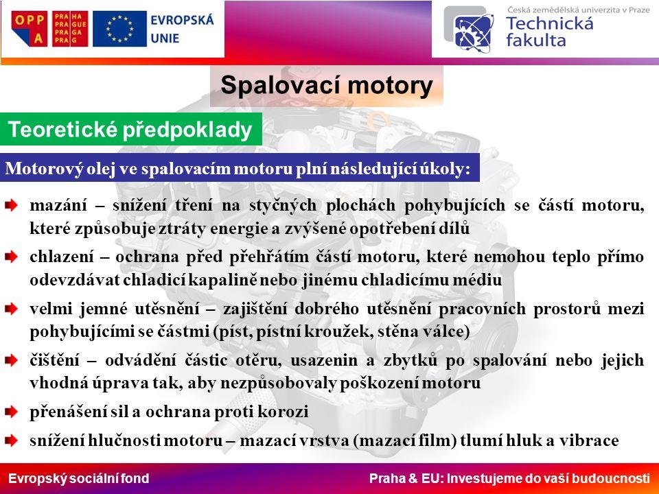 Evropský sociální fond Praha & EU: Investujeme do vaší budoucnosti Spalovací motory Teoretické předpoklady mazání – snížení tření na styčných plochách
