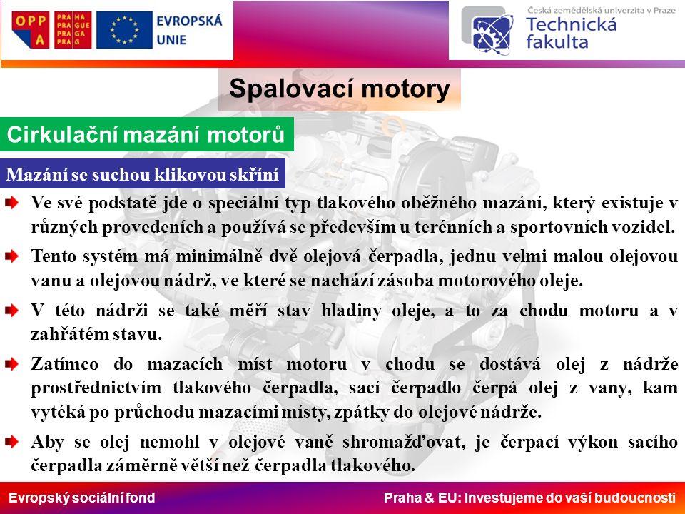 Evropský sociální fond Praha & EU: Investujeme do vaší budoucnosti Spalovací motory Cirkulační mazání motorů Mazání se suchou klikovou skříní Ve své p