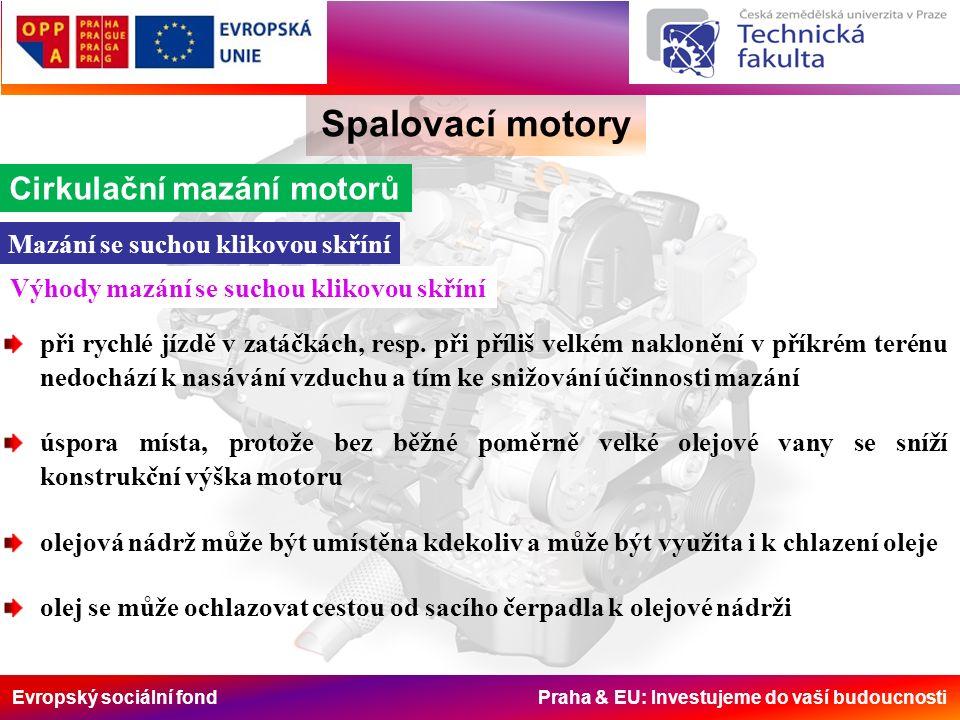 Evropský sociální fond Praha & EU: Investujeme do vaší budoucnosti Spalovací motory Cirkulační mazání motorů Mazání se suchou klikovou skříní při rych